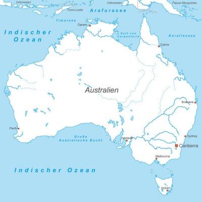 Fototapeta Austrálie v Weiß (beschriftet) - Vektor