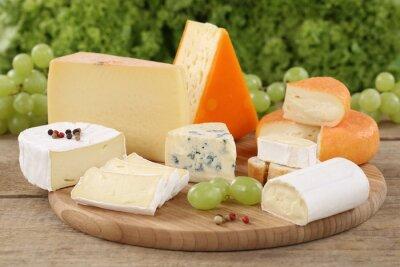 Fototapeta Auswahl Käse wie Camembert, bergkäse und Schweizer Käse