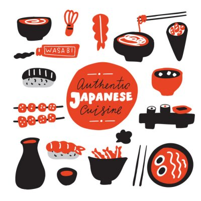 Fototapeta Authentic japanese cuisine.Hand drawn food. Doodles. Made in vector.