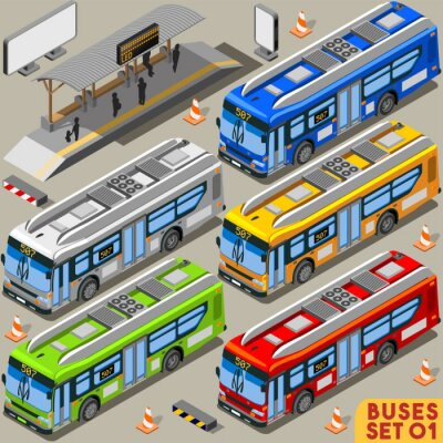 Fototapeta Autobus Set 01 Vehicle Isometric