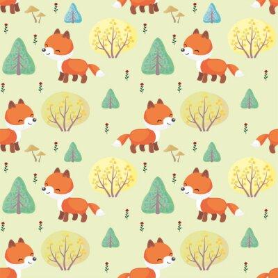 Fototapeta Baby barevné bezproblémové vzorek s obrazem roztomilých lesních zvířat. Vektorové pozadí.