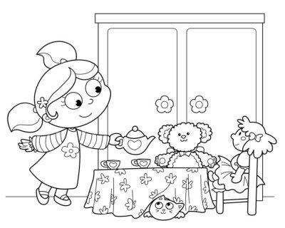 Fototapeta Bambina che gioca servire il te alle Bamböle