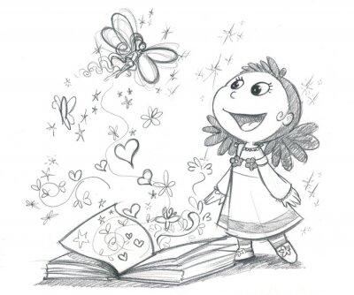 Fototapeta Bambina con libro fantasy