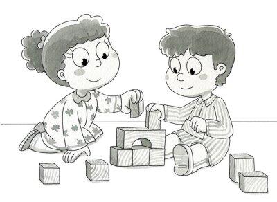 Fototapeta Bambini che giocano con cubetti. Bn