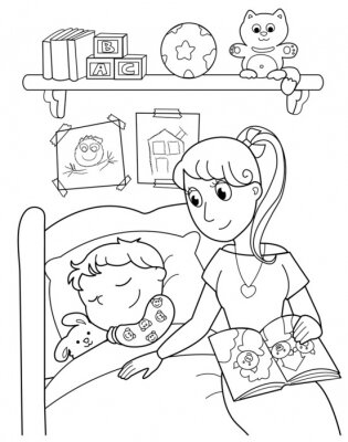Fototapeta Bambino addormentato con la mamma