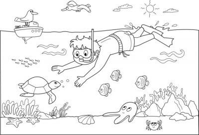 Fototapeta Bambino che nuota Sotto acqua con i Pesci.