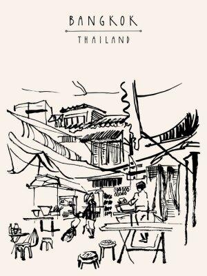 Fototapeta Bangkok Thailand ručně malovaná pohlednice