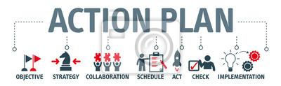 Fototapeta Banner akční plán koncepce vektorové ilustrace s klíčovými slovy a ikony
