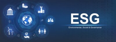 Fototapeta Banner ESG - Environmental, Social and Corporate Governance. Info banner calling to remember the involvement of this company in solving environmental, social and management problems with icons. Vector