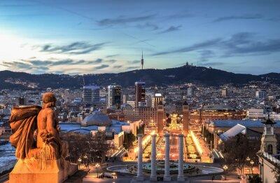 Fototapeta Barcelona na modrou hodinu, Španělsko