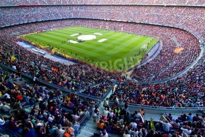 Fototapeta BARCELONA, ŠPANĚLSKO - 13.května 2011: Neznámí fanoušci FC Barcelona slaví vítězství španělské ligy Mistrovství světa v Camp Nou stadionu.