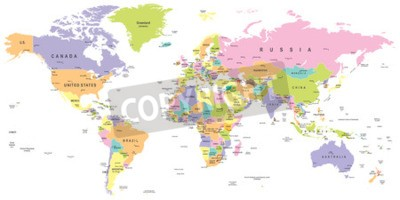 Fototapeta Barevná mapa světa - hranice, země a města - ilustrace