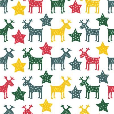 Fototapeta Barevné bezešvé retro vánoční vzorek - Xmas sobů a noční hvězdy. Šťastný Nový Rok pozadí. Vector design pro zimní dovolenou na bílém pozadí.