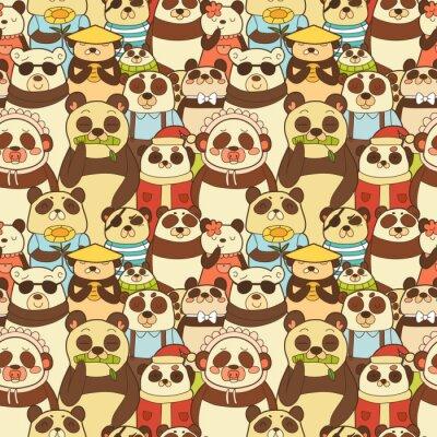 Fototapeta Barevné bezešvé vzor s legrační pand