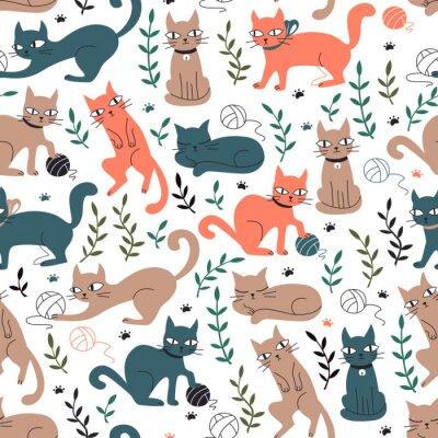 Fototapeta Barevné bezproblémové vzorek s kočkami a listy.
