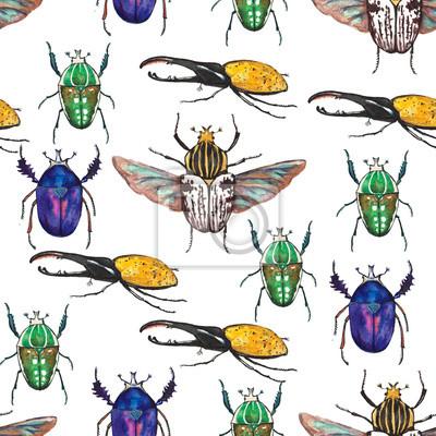 Fototapeta Barevné bezproblémové vzorek s ručně kreslenými akvarel tropických brouků