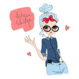Barevné cute vector fashion lifestyle ilustrace s modelka milující fashion  lifestyle e88d6000e2