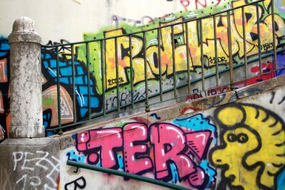 Fototapeta barevné graffiti na zeď