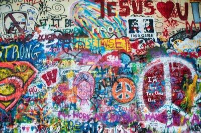 Fototapeta Barevné John Lennon stěna v Praze