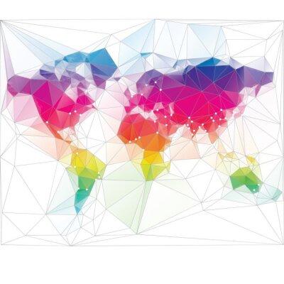 Fototapeta barevné mapa světa trojúhelník designu