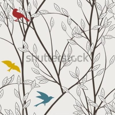 Fototapeta barevné ptáky a větve