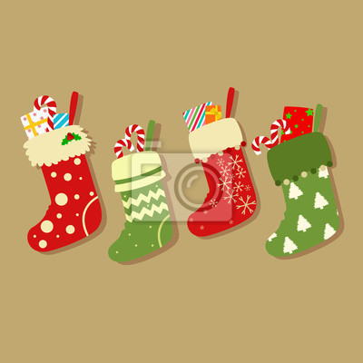 21458fdd3cb Fototapeta Barevné vánoční ponožky s dárky a sladkosti z keřů vektoru na  světle hnědé pozadí