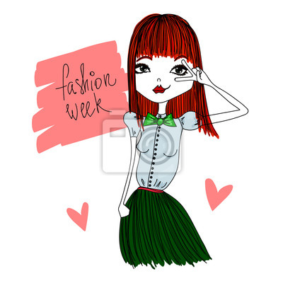 Fototapeta Barevné vektorové ilustrace Fashion Week s Skinny Redhead  Fashion dívka 63df7c0f79