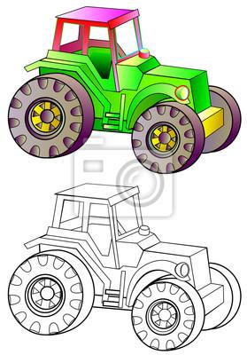 Barevny I Cernobily Vzor Traktoru Vektoru Kresleny Obrazek