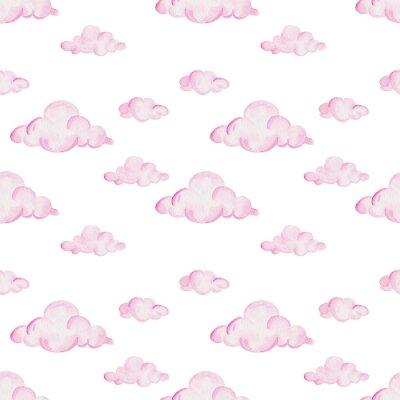 Fototapeta Barevný vzor sprchy akvarel. Růžové mraky na bílém pozadí. Pro design, tisk nebo pozadí