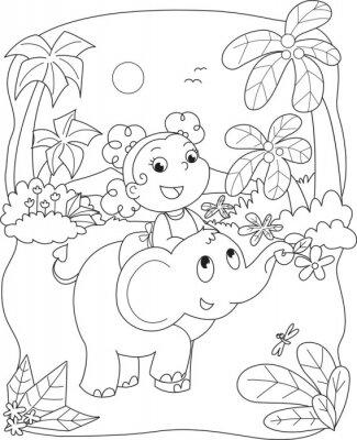 Fototapeta Barvení ilustrace dívky na koni slon