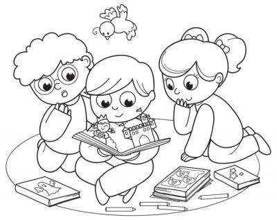 Fototapeta Barvení ilustraci přátel čtení pop-up knihy dohromady.