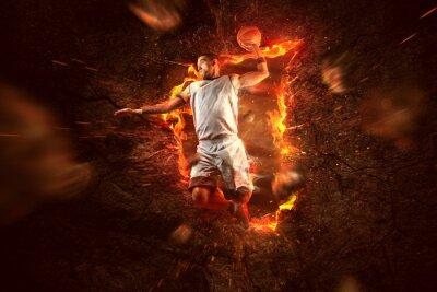 Fototapeta Basketball Player on Fire