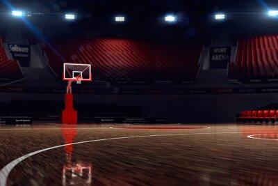Fototapeta Basketbalové hřiště. Sport aréna. 3d render pozadí. unfocus v dlouhém záběru vzdálenosti