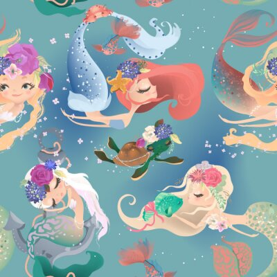 Fototapeta Beautiful seamless pattern with cute mermaid girls, princess in floral wreath, bouquets, turtle and fish
