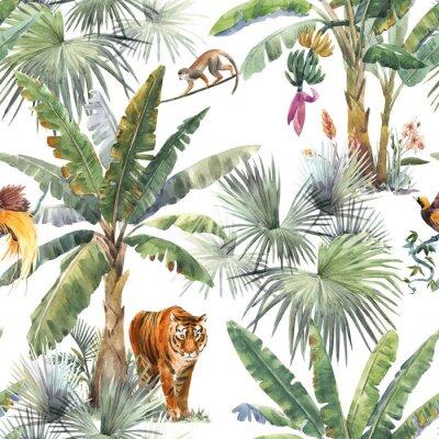 Fototapeta Beautiful seamless pattern with watercolor tropical palms and jungle animals tiger, giraffe, leopard. Stock illustration.