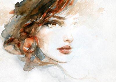 Fototapeta beautiful woman. fashion illustration. watercolor painting