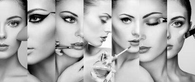 Fototapeta Beauty koláž. Tváře žen. Módní fotografie. Maskérka se týká rtěnky a oční stíny. Žena použití parfému