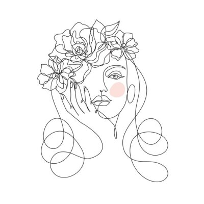 Fototapeta Beauty woman face with flowers one line drawing art. Abstract minimal portrait continuous line. Minimalist Orchids flowers in hair Vector illustration