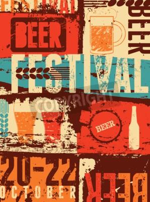Fototapeta Beer Festival vintage styl grunge plakát. Retro vektorové ilustrace.