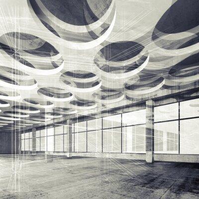 Fototapeta Betonové interiéru a drátěný-linky, 3d ilustrace