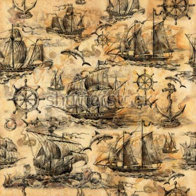 Fototapeta Bezešvá vintage textury, tapety na námořní téma, ručně kreslené se starými plachetnicemi, žraloky, volanty, záchranné kruhy a starý papír.