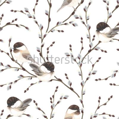 Fototapeta Bezešvá vzor Willow větví a ptáků Black-capped Chickadee, vektorové ilustrace na bílém pozadí ve stylu vintage akvarel.