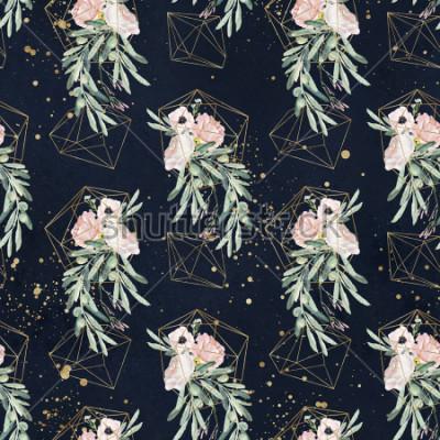 Fototapeta Bezešvé akvarel olejové květinové vzory s olivovými větvemi, listy, červené květinové kytice, stříkající barvy a zlaté geometrické tvary na černém pozadí