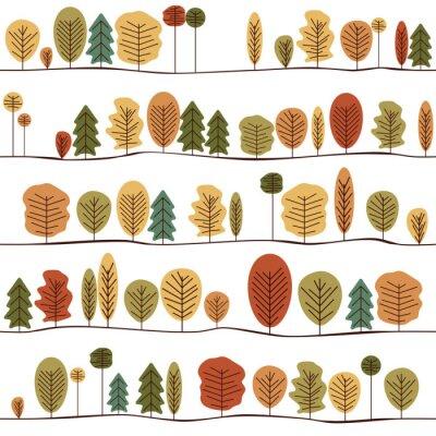 Fototapeta Bezešvé dekorativní šablony textura s podzimní stromy. Barevné bezešvé Stylizované stromy vzorek.