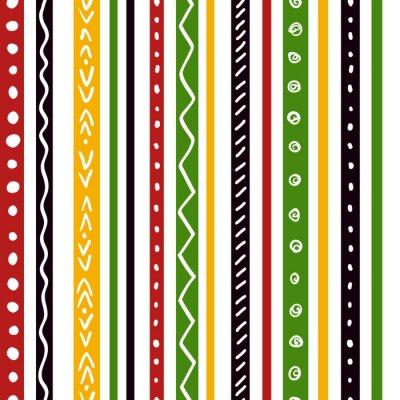Fototapeta Bezešvé etnický vzor s zelená, žlutá, červená barva pruhy. Opakujte rovné pruhy textury pozadí, vektor.