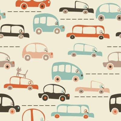 Fototapeta bezešvé karikatura mapa automobilů a dopravy