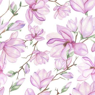Fototapeta Bezešvé květinový vzor s magnólií s akvarely na bílém pozadí