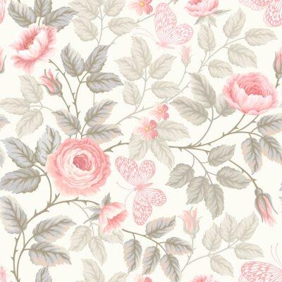 Fototapeta bezešvé květinový vzor s růžemi a motýly