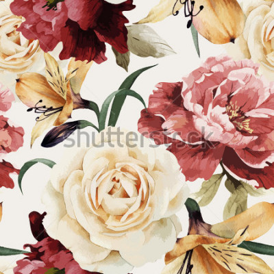 Fototapeta Bezešvé květinový vzor s růží, akvarel. Vektorové ilustrace.