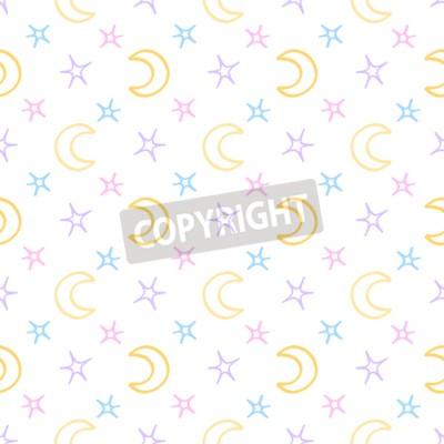 Fototapeta Bezešvé měkká hvězdy a měsíc dítě noc pozadí. sladké sny vzor